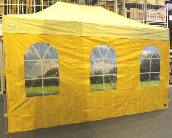 MVL-TENT ® Seitenwand mit 3 Bogenfenstern, Größe: 4,5m. Farbe: Gelb | Restposten, Sonderpreis
