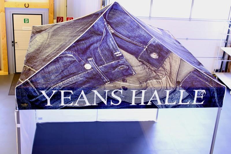 Faltpavillon bedruckt Yeans Halle