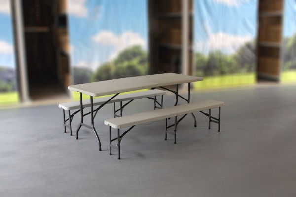 MVL-TENT® Spar-Set HDPE 1 x Klapptisch 183 x 76 cm + 2 x Sitzbank