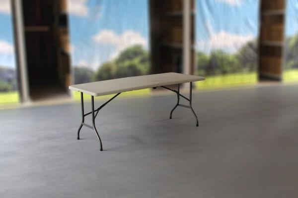 MVL-TENT® Multi-Tisch, 183 x 76 cm, HDPE-Tischplatte in weiß / In der Mitte klappbar, mit Rollen