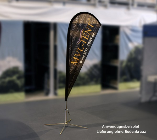 MVL-TENT® Beachflag in Tropfenform inkl. Druck einseitig | Höhen: 2,40m, 3,45m und 4,70m
