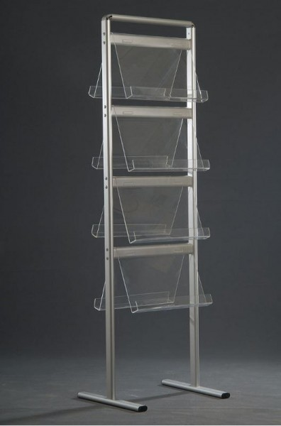 "Mobiler Prospektständer ""Classic"" mit Alu-Ovalprofilen, doppelseitig, 16 x DIN A4"