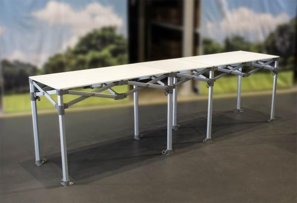 MVL-TENT® Falttisch aus Aluminium 282 x 61,5 cm, 230 x 61,5 cm und 115 x 61,5 cm