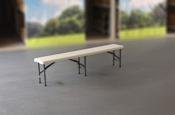 MVL-TENT® Sitzbank, 180 x 30 cm, HDPE-Sitzfläche in weiß / Klappbare Füße und Sitzfläche