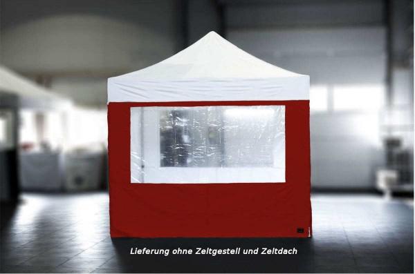 MVL-TENT ® Seitenwand Standard mit Fenster, Größe: 3m, Farbe: Rot | Restposten, Sonderpreis