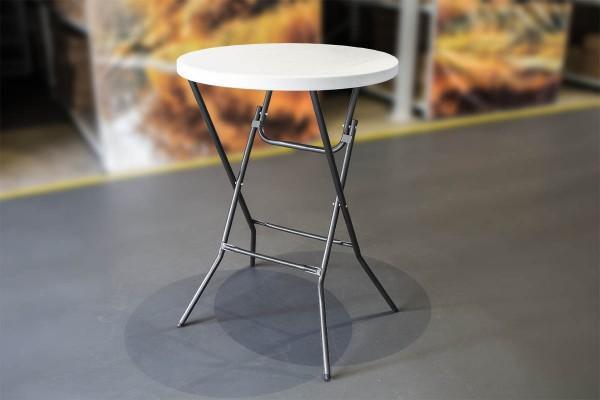 MVL-TENT® Stehtisch Ø 80 cm, HDPE-Tischplatte in weiß / Füße klappbar